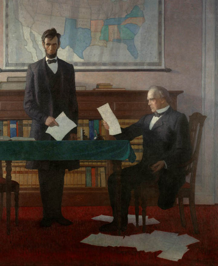 President Lincoln with Treasury Secretary Salmon P. Chase