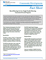 Community Affairs Fact Sheet: Rural Housing Service Single Family Housing Guaranteed Loan Program