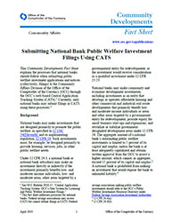 Submitting National Bank Public Welfare Investment Filings Using CATS